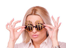 Surprised woman with Dollar-sign sunglasses Royalty Free Stock Photo