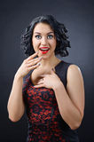 Beautiful surprised brunette with perfect hairstyle and professional makeup royalty free stock photos