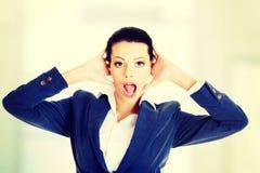 Beautiful surprised businesswoman. stock image