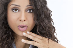 Beautiful Surprised Hispanic Woman or Girl Stock Photography