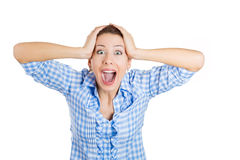 A beautiful surprised shocked young lady screaming out Royalty Free Stock Image
