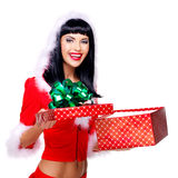Beautiful surprised snow maiden holds the  christmas  gift box Stock Images