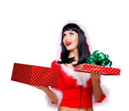 Beautiful surprised snow maiden holds the  christmas  gift box Royalty Free Stock Photo