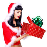 Beautiful surprised snow maiden holds the  christmas  gift box Royalty Free Stock Image