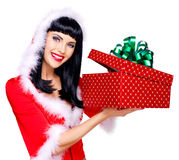 Beautiful surprised snow maiden holds the  christmas  gift box Royalty Free Stock Images