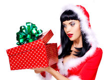 Beautiful surprised snow maiden holds the  christmas  gift box Stock Photos