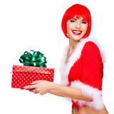 Beautiful surprised snow maiden holds the  christmas  gift box Stock Image