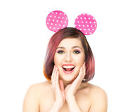 Beautiful surprised woman in Mickey mouse ears Stock Images