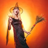 Beautiful surprised woman in witches hat and costume - showing products. Halloween Woman. Close-up portrait of gorgeous stock images