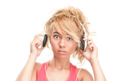 Beautiful surprised young woman with headphones. Royalty Free Stock Photos