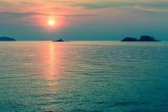 Beautiful surreal sunset on the sea coast. Nature. Royalty Free Stock Photos