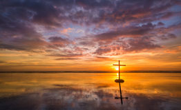 Beautiful Suset Cross Reflecton Stock Images