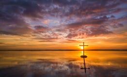 Beautiful Suset Cross Reflecton Stock Images