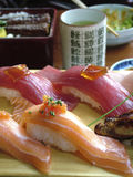 Beautiful sushi and other Japanese tea and dishes. Beautiful and fresh sushi with other Japanese tea and dishes Royalty Free Stock Image