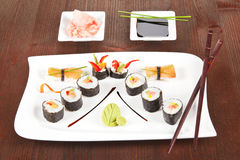 Beautiful sushi plate. Royalty Free Stock Photos