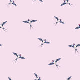 Beautiful swallow on a pink background. Watercolor illustration. Spring bird brings love. Handwork. Seamless pattern.  vector illustration