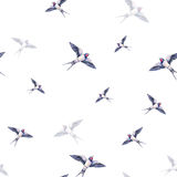 Beautiful swallow on a white background. Watercolor illustration. Spring bird brings love. Handwork. Seamless pattern.  vector illustration