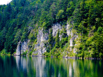 Beautiful swan lake with rocky shore in Alps. Royalty Free Stock Image