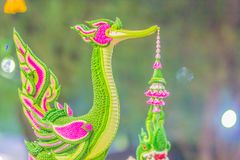 Beautiful swan mythical creatures Buddhism made from green banana leaves. Beautiful swan mythical creatures Buddhism made from green banana leaves royalty free stock photos