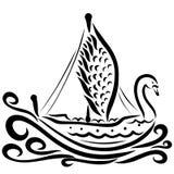 Beautiful swan-shaped sailing ship, black pattern, graceful bird royalty free illustration