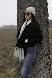 Beautiful Swedish caucasian teen girl with sunglasses. Royalty Free Stock Image