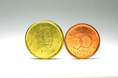 Swedish coins in 10 kronor face value and 50 cent face value Stock Photo