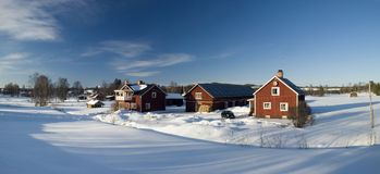 Beautiful  Swedish village. Beautiful village in Sweden in winter Royalty Free Stock Images