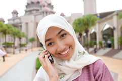 Beautiful and sweet Asian Malay Muslim lady Stock Photo