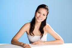 Beautiful sweet smile. Refreshing and clean face of young woman with a sweet smile Stock Image