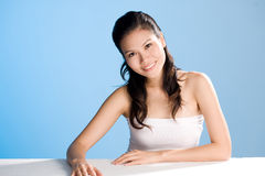 Beautiful sweet smile. Beautiful smile of a asian woman with clean refreshing face Stock Photos