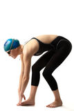Beautiful swimmer. Girl swimmer readiness to start competition over white Stock Photography