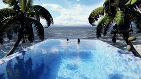 Beautiful swimming pool with bathing man and woman at sunny day, on a lost tropical island. Looped realistic 3D