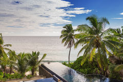 Beautiful swimming pool with breathtaking view Royalty Free Stock Images