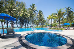 Beautiful swimming pool overlooking the sea Stock Photo
