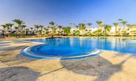 Beautiful swimming pool and palm trees in Egypt Royalty Free Stock Images