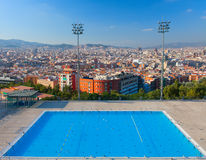 Barcelona city Olympic swimming pool. Montjuic mountain. Spain. Royalty Free Stock Photo