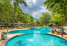 Beautiful swimming pool in public tropical resort , Koh Chang. Thailand Stock Photography