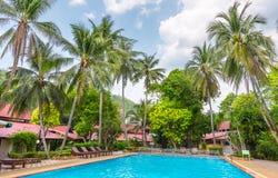 Beautiful swimming pool in public tropical resort , Phuket, Thai. Land Stock Image