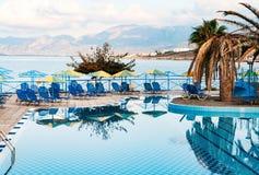 Beautiful swimming pool on shore of Sea Stock Image