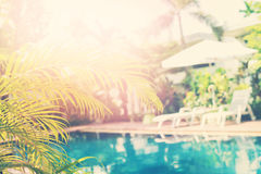 Beautiful Swimming Pool Tropical Resort Blured. Beautiful Swimming Pool Sunshade Plank Bed Tropical Resort Palm Tree Branches Phuket Thailand Blurred Background Royalty Free Stock Photos