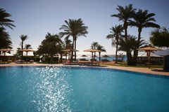 Beautiful swimming pool in tropical resort. Dahab, Egypt Royalty Free Stock Photo