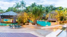 Beautiful swimming pool in tropical resort , Phuket Stock Photo
