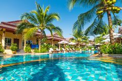 Beautiful swimming pool in tropical resort , Phuket, Thailand. Beautiful swimming pool in tropical resort Phuket, Thailand Royalty Free Stock Photos