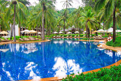 Beautiful swimming pool in tropical resort , Phuket, Thailand. Beautiful swimming pool in tropical resort inThailand Stock Photos