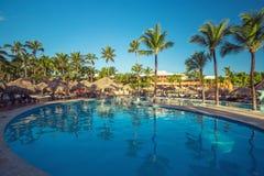 Beautiful swimming pool in tropical resort , Punta Cana Royalty Free Stock Images