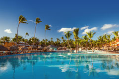 Beautiful swimming pool in tropical resort, Punta Cana Stock Photography