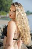 Beautiful Swimsuit Model. A beautiful young female at the beach on a sunnday day Royalty Free Stock Photography