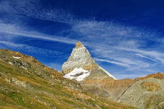 Beautiful  Swiss Alps landscape with mountains, rocks and glacier Stock Images