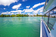 Beautiful Swiss landscape view from famous boat at Lake Zug Stock Photos