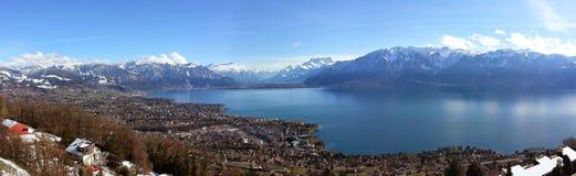 Beautiful Switzerland. Panoramic view of Lake Geneva, Vevey and the Swiss Alps Stock Photography
